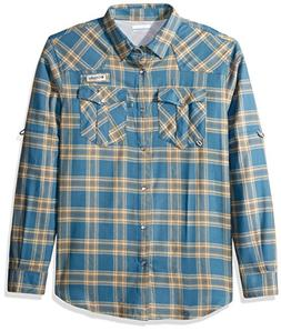 Columbia Men's Beadhead Flannel Long Sleeve, Blue Heron Plai