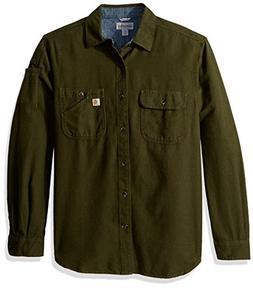 Carhartt Men's Beartooth Solid Long Sleeve Shirt, peat Heath