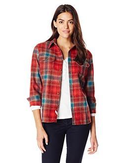 Woolrich Women's Bering Wool Plaid Shirt, Dark Teal Ombre, X