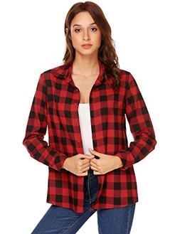BeyoveWomen's Flannel Shirt, Button-Down Cotton Boyfriend To