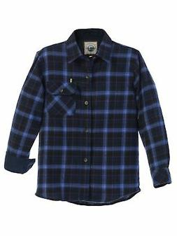 Gioberti Big Boys Blue Navy Corduroy Contrast Flannel Plaid
