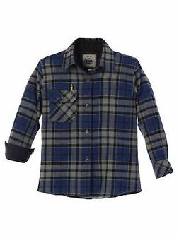 Gioberti Big Boys Gray Royal Blue Corduroy Contrast Flannel