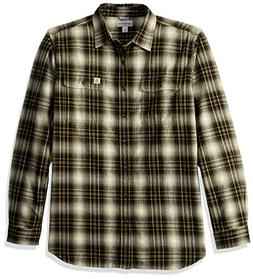 Carhartt Men's Big Hubbard Plaid Flannel Shirt, Burnt Olive,