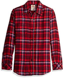 Dickies Big Girls' Long Sleeve Flannel Shirt, Poinsettia/Bur