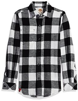 Dickies Big Girls' Long Sleeve Flannel Shirt, Opaque White B