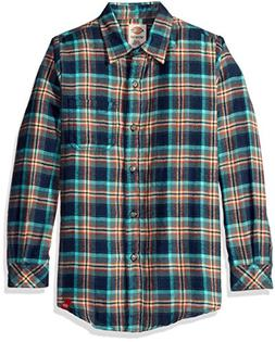 Dickies Big Girls' Long Sleeve Flannel Shirt, Texas Topaz/Aq
