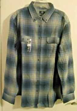 Big Men's George Soft Flannel Shirt Long Sleeve Blue and Gra