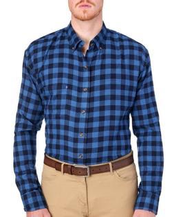 IZOD Big Tall Mens Cobalt Blue Plaid Flannel Button-Front Sh