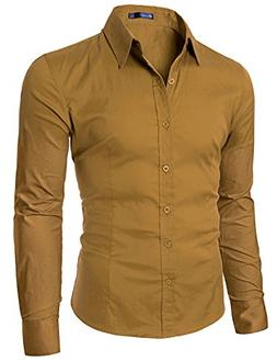 Doublju Big Tall Soild Color Dress Shirt with Long Sleeve MU