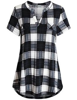 Miss Fortune Blouses for Women,Stretchy Soft Plaid Flannel S