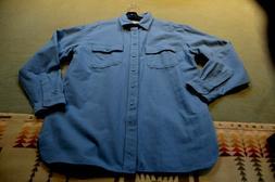L L Bean blue heavy chamois, flannel long sleeve shirt mens