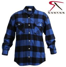 Blue Plaid Heavyweight Brawny Buffalo Plaid Flannel Shirt Ro