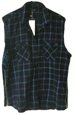 Coofandy Blue Plaid Sleeveless Flannel Vest Mens size 3XL Hi