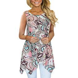 BODOAO Women's Tops Casual Shirt Irregular Printed Sleeve
