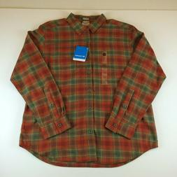 Columbia Boulder Ridge Flannel Shirt LS Orange Green Regular