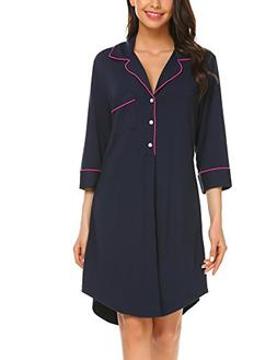 Ekouaer Boyfriend Style Sexy Cotton Nightgown 3/4 Sleeve Sle