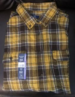 Brand New George Mens 2XL  Flannel Longsleeve Yellow Plaid R