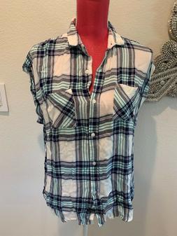 brand sleeveless flannel shirt top blouse size