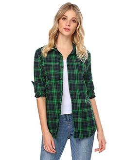 Zeagoo Women Buffalo Check Plaid Shirts Casual Button Down B