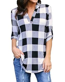Kyerivs Women's Buffalo Check Plaid Shirts V Neck Roll Up Sl
