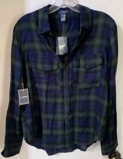 Forever 21 Button Down LongSleeve Flannel Shirt Womens Top S