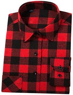 DOKKIA Men's Button Down Buffalo Plaid Checked Long Sleeve F