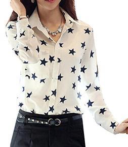 Fulok Women Button Down Shirt Star Leopard Print Long Sleeve