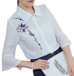 Fulok Women Button Down Shirts Embroideried Ruffle Sleeve Ch