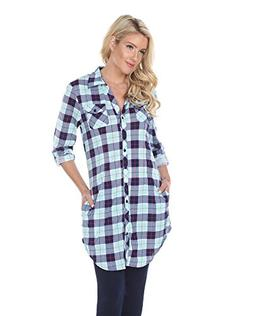 White Mark 'Piper' Button-Front Plaid Dress Shirt in Mint &