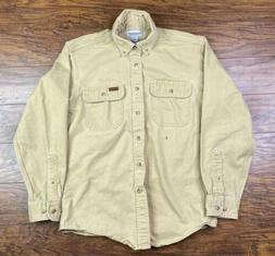 Carhartt Canvas Flannel Work Shirt Small Khaki Q1 Distressed