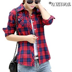 JIANGYIXUAN Casual Button Down Lapel Neck Plaids Checks <fon