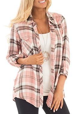 Jug&Po Womens Casual Cuffed 3 4 Long Sleeve Plaid Button Dow