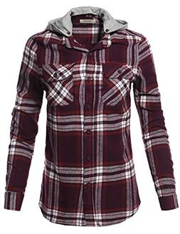 Awesome21 Casual Flannel Roll-Up Sleeves Button-Down Shirts