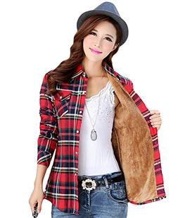 AvaCostume Womens Casual Fleece Winter Plaid Slim Shirt Blou