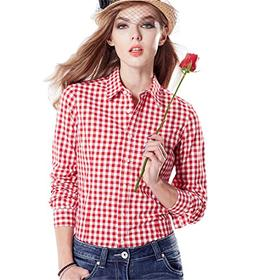 JHVYF Women's Casual Gingham Shirt Cotton Long Sleeve Button