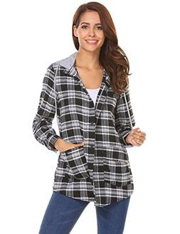 Beyove Womens Casual Long Sleeve Boyfriend Plaid Button Down