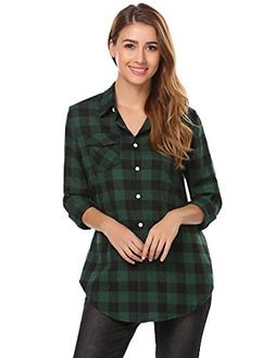 7b10ea58d7b55 Zeagoo Women s Casual Long Sleeve Flannel Plaid Button Down