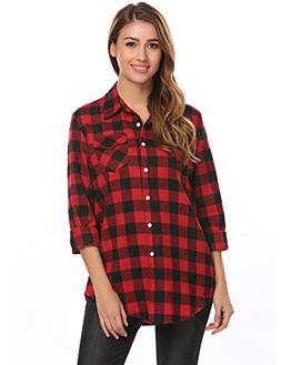 Zeagoo Women's Casual Long Sleeve Flannel Plaid Button Down