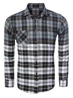 COOFANDY Casual Long Sleeve Flannel Plaid Shirt Slim Fit But