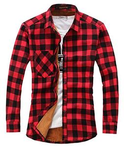 Chouyatou Men's Casual Long Sleeve Fleece Lined Plaid Flanne