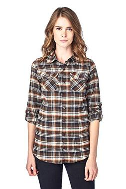 Blue Age Womens Casual Long Sleeve Plaid Flannel Shirts
