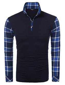 Coofandy Men's Casual Long Sleeve Plaid Shirt Zipper Polo Sh