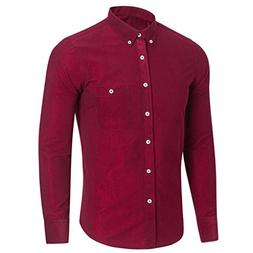 Willsa Men Pure Color Casual Long Sleeve Shirts Fashion Plus