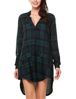 Women's Casual Long Sleeve Tunic V Neck Buffalo Plaid Shirt