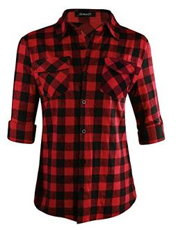 Oyamiki Women's Roll Up Sleeve Flannel Plaid Shirt Button Do