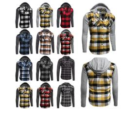 FashionOutfit Casual Plaid Check Detach Hoodie Cotton Flanne