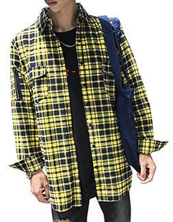 Fensajomon Mens Casual Plaid Flannel Side Zipper Long Sleeve