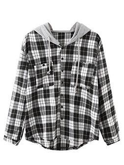 SweatyRocks Women's Casual Plaid Hoodie Shirt Long Sleeve Bu
