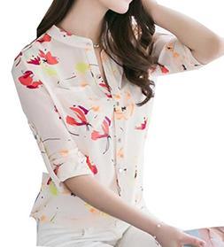 Fulok Women Casual Sunflower Print Long Sleeve Chiffon Shirt