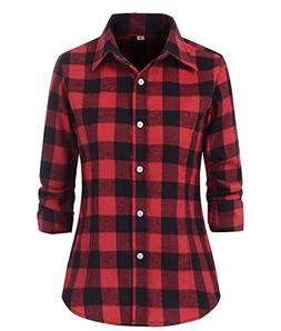 Beniobs Women's Check Flannel Plaid Shirt